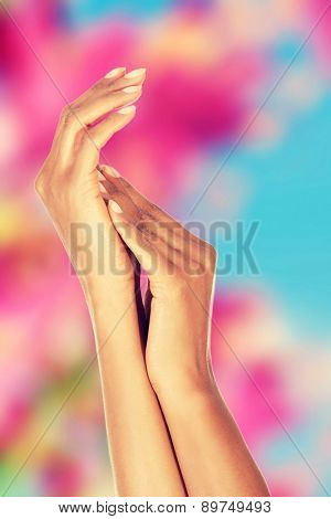Beautiful smooth young woman hands