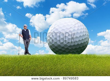Businessman playing golf