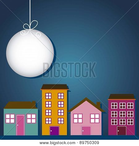 Cute Buildings With Moon Over Night Background Vector Illustrati