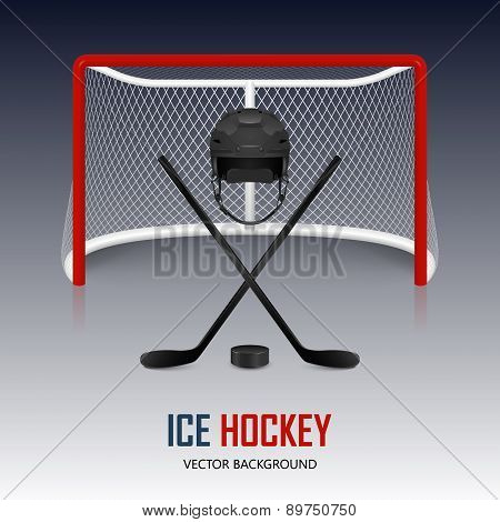 Ice Hockey Helmet, Puck, Sticks And Goal.