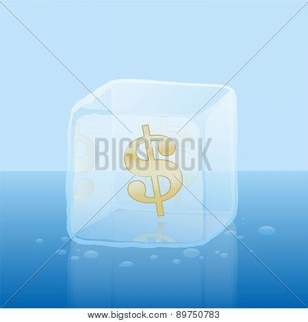 Frozen Credit Capital Dollar Ice Cube Money