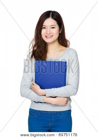 Asian student girl hold with clipboard