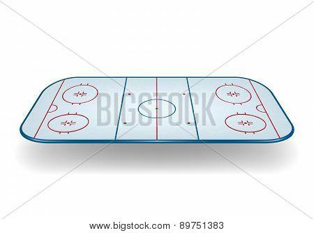 Vector Ice Hockey Field. Isolated.
