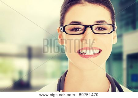 Portrait of a beautiful young doctor woman