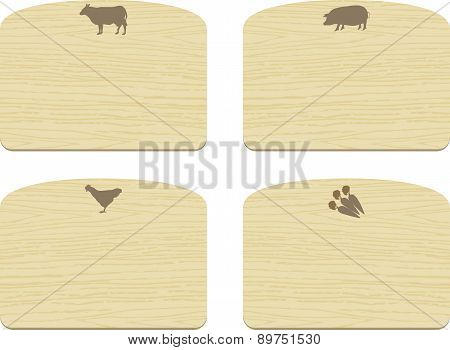 Set Of Empty Wooden Cutting Boards  With Animals