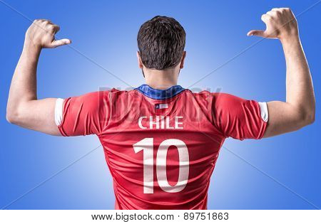 Chilean Soccer player on blue background