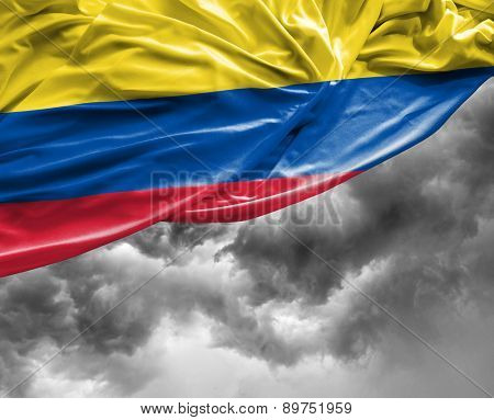 Colombian waving flag on a bad day