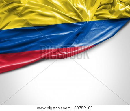 Colombian waving flag on white background