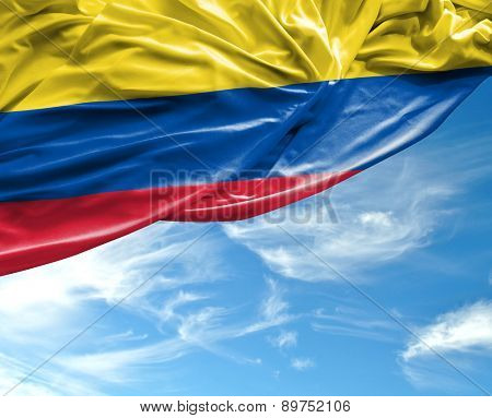 Colombian waving flag on a beautiful day