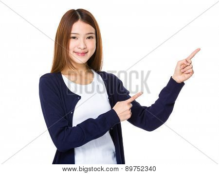 Asian woman with two finger pointing up