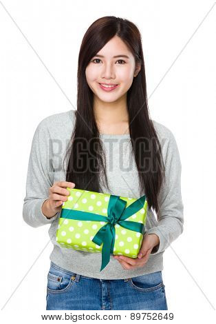 Woman hold with gift box