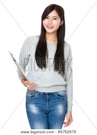 Young woman hold with clipboard