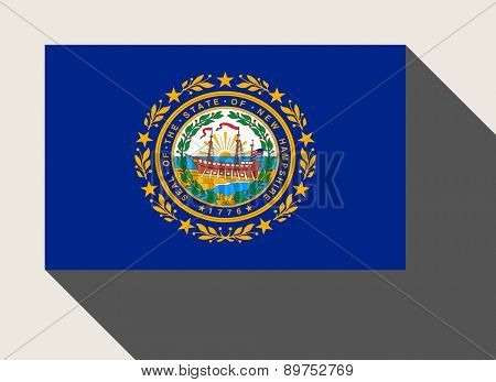 American State of New Hampshire flag in flat web design style.