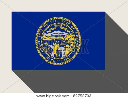 American State of Nebraska flag in flat web design style.