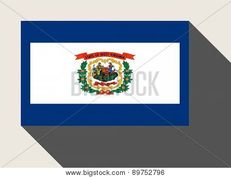 American State of West Virginia flag in flat web design style.