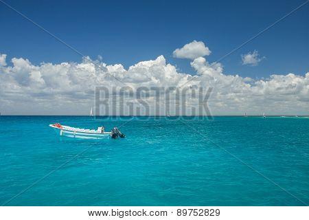 Boat In Caribbean Sea