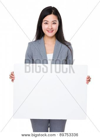 Young businesswoman show with white board