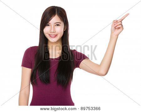 Asian woman with finger point upwards