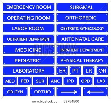 Set Of Blue Hospital Sign And Medical Abbreviations