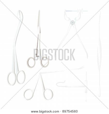 Set Of Surgical Instruments On White Background