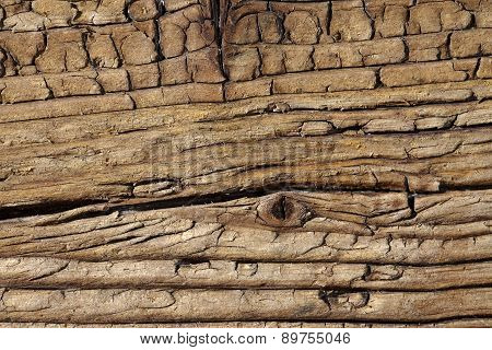 old antique wooden tables with nails, close up