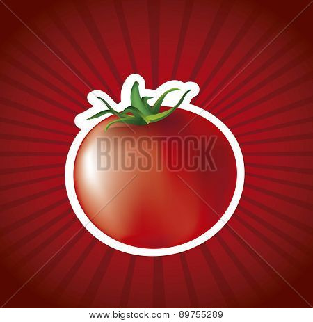 Red Tomato Over Red Background Vector Illustration