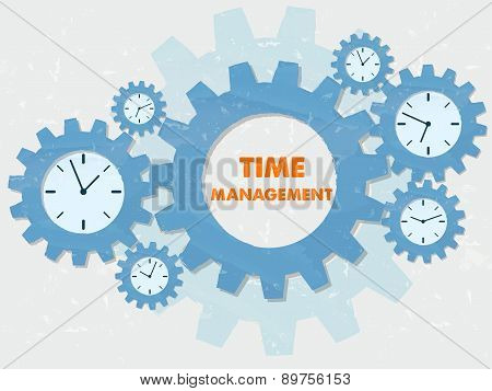 Time Management With Clocks In Grunge Flat Design Gears