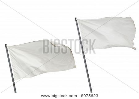 White Flags Isolated Horizontal