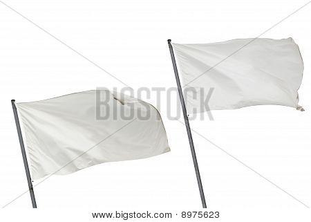 White Flags Isolated Horizontal