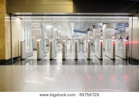 Moscow, Russia, March, 31, 2015: Turnstiles at the metro station