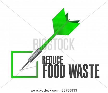 Reduce Food Waste Check Dart Sign Concept