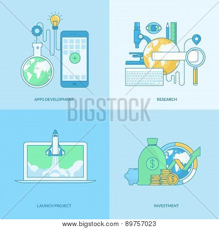 Set of line concept icons for business research and development