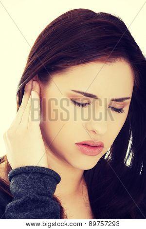 Woman with a huge headache