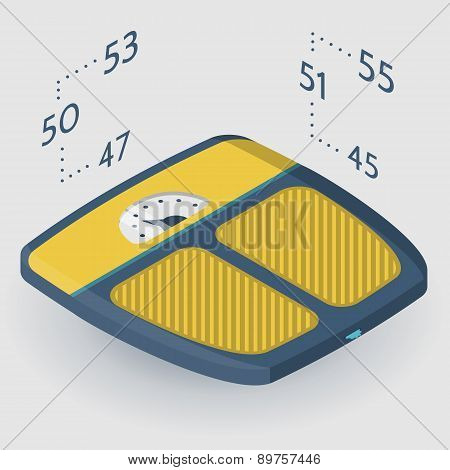 Vector isometric flat illustration of floor scales