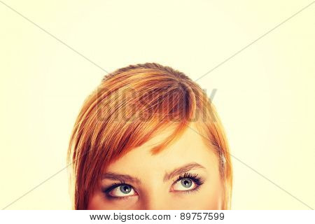 Woman eyes with long lashes looking