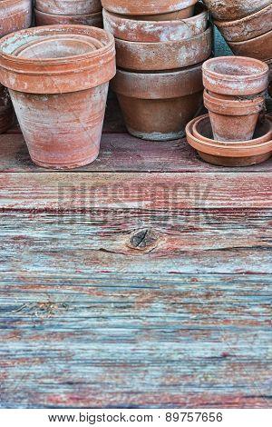 Old Pots On Barnwood