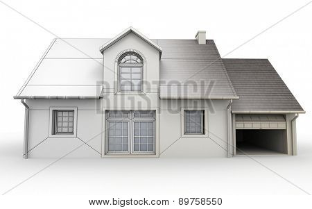 3D rendering of a house project, showing different design stages