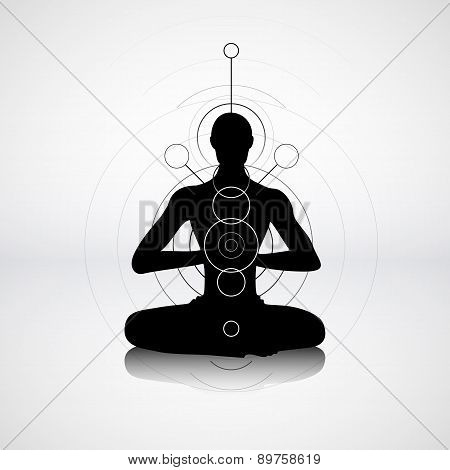 Male Silhouette In Yoga Pose