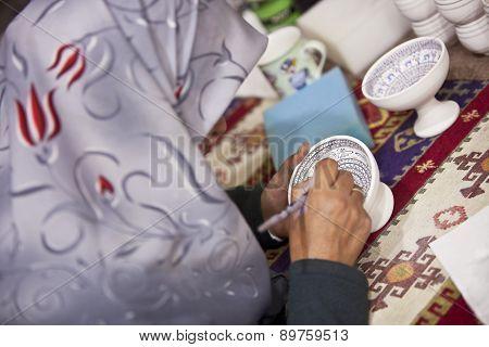 Turkish Woman Illustrating Ceramic Pot