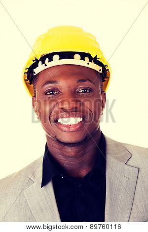 Black handsome businessman wearing helmet
