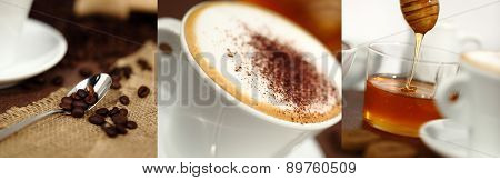 breakfast cup with cappuccino coffee beans and honey