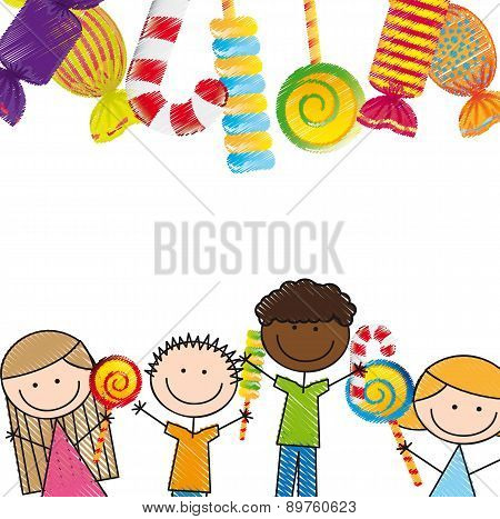Candies And Children Over White Background Vector Illustration