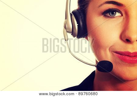 Portrait of a happy call center woman