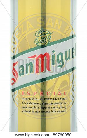 San Miguel beer isolated on white background
