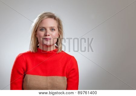 Young Pretty Blonde Staring At Camera