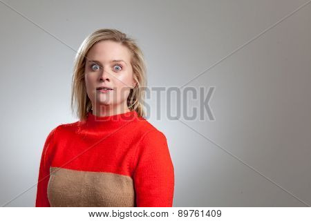 Young Pretty Blonde Startled Girl