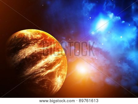 A beautiful space scene with planet and nebula. Elements of this image furnished by NASA