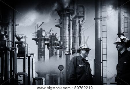 oil and gas workers at refinery industry vintage processing concept