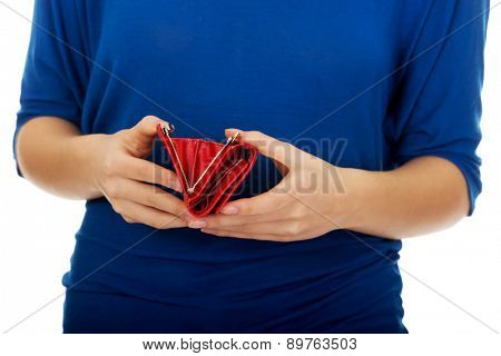 Bankrupt woman with empty wallet.