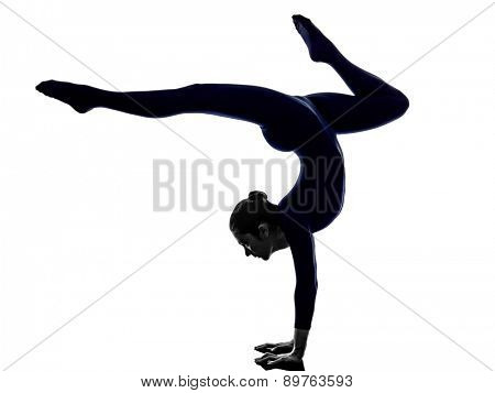 woman exercising Eka Pada Viparita Dandasana pose yoga silhouette shadow white background
